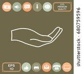 open hand   line icon | Shutterstock .eps vector #680759596