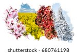 four season collage   grungy... | Shutterstock . vector #680761198