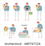 dad's baby care vector... | Shutterstock .eps vector #680767126