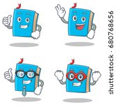 set of blue book character with ... | Shutterstock .eps vector #680768656