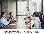 businessman standind for... | Shutterstock . vector #680773408