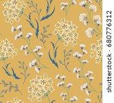 cute vector seamless floral... | Shutterstock .eps vector #680776312