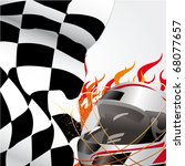 racing flag and helmet with... | Shutterstock . vector #68077657