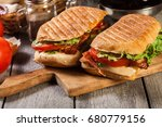 toasted ciabatta sandwich with... | Shutterstock . vector #680779156