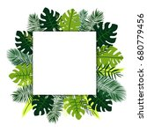 white square on tropical leaves | Shutterstock .eps vector #680779456
