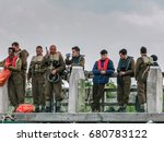 Small photo of Harry styles, Fion whitehead and Barry Keoghan during the filming for the Christopher Nolan film Dunkirk, Urk Flevoland Netherlands July 2016