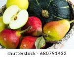 Basket With Autumn Fruits Clos...