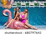 two beautiful girlfriends in...   Shutterstock . vector #680797642