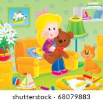 girl with a toy bear in a room   Shutterstock . vector #68079883