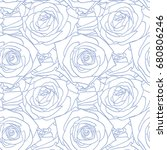 rose blue pattern. floral... | Shutterstock .eps vector #680806246