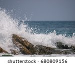 the sea wave crashing on the... | Shutterstock . vector #680809156