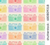 old camera color pattern on... | Shutterstock .eps vector #680809318