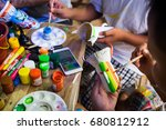 the workshop for painting on... | Shutterstock . vector #680812912