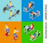 isometric people at the gym.... | Shutterstock .eps vector #680815462