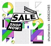 summer sale geometric style web ... | Shutterstock .eps vector #680822485