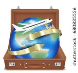 suitcase open with airplane fly ... | Shutterstock .eps vector #680835526