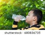 children drink water in the... | Shutterstock . vector #680836735
