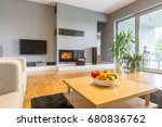 spacious room with home cinema | Shutterstock . vector #680836762