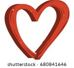 3d red abstract heart logo   Shutterstock .eps vector #680841646