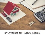 house model  key and calculator ... | Shutterstock . vector #680842588