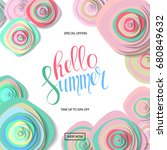 summer sale background with... | Shutterstock . vector #680849632