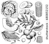 vector hand drawn set of farm... | Shutterstock .eps vector #680852152
