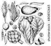 vector hand drawn set of farm... | Shutterstock .eps vector #680852665