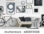 vintage bike by wooden sofa in... | Shutterstock . vector #680855008