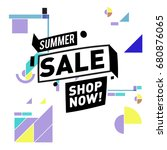 summer sale geometric style web ... | Shutterstock .eps vector #680876065