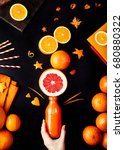 fresh detox juice from oranges  ... | Shutterstock . vector #680880322