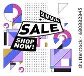 summer sale geometric style web ... | Shutterstock .eps vector #680882845