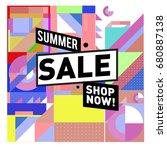 summer sale geometric style web ... | Shutterstock .eps vector #680887138