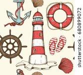 vintage summer nautical... | Shutterstock .eps vector #680899072