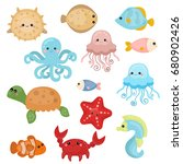 cute sea life creatures.... | Shutterstock .eps vector #680902426