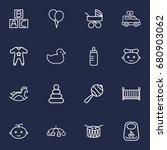 set of 16 baby outline icons... | Shutterstock .eps vector #680903062