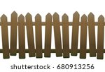 old  unsteady  crooked fence... | Shutterstock .eps vector #680913256