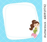 greeting card with cute girl... | Shutterstock .eps vector #680919742