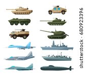 naval vehicles  airplanes and... | Shutterstock .eps vector #680923396