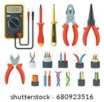 electrical cable wires and... | Shutterstock .eps vector #680923516