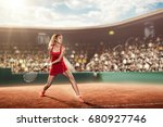 tennis player on a court with a ... | Shutterstock . vector #680927746