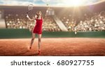 tennis player serving | Shutterstock . vector #680927755