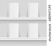 blank book on book shelf.... | Shutterstock .eps vector #680947195
