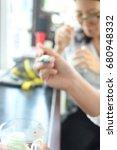 the blur view of customer eat... | Shutterstock . vector #680948332