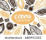 hand drawn doodle cocoa and... | Shutterstock .eps vector #680951332