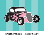 Vector Hot Rod With Pink Flames