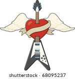 guitar tattoo style... | Shutterstock .eps vector #68095237