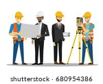 civil engineer discussion with... | Shutterstock .eps vector #680954386