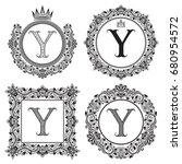 black letter y vintage... | Shutterstock . vector #680954572