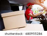 parcel delivery man drive a car ... | Shutterstock . vector #680955286