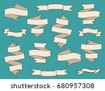 vintage hand drawn ribbon... | Shutterstock . vector #680957308